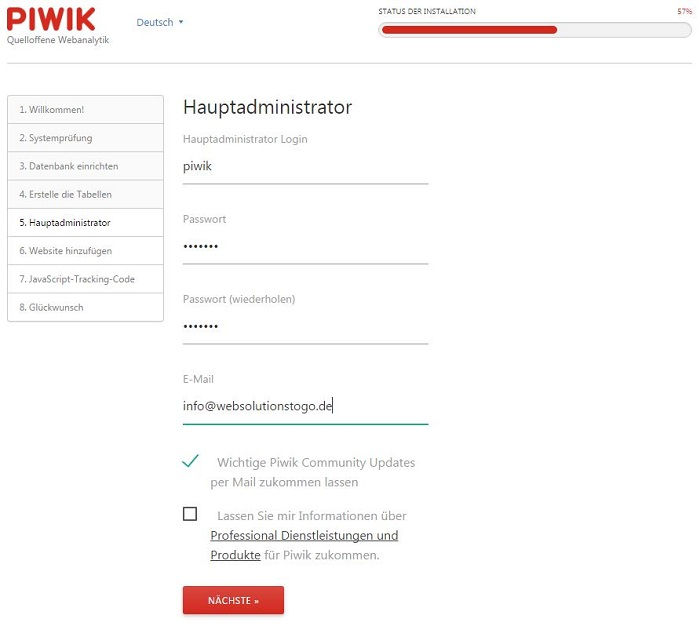 Blog auf dem eigenen Server das Webanalytik Tool Piwik installieren 02