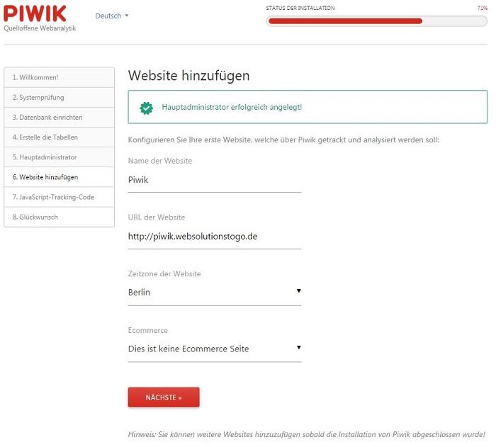 Blog auf dem eigenen Server das Webanalytik Tool Piwik installieren 03