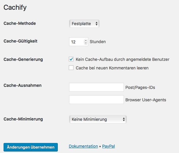 Blog Plugin Cachify für WordPress installieren und konfigurieren