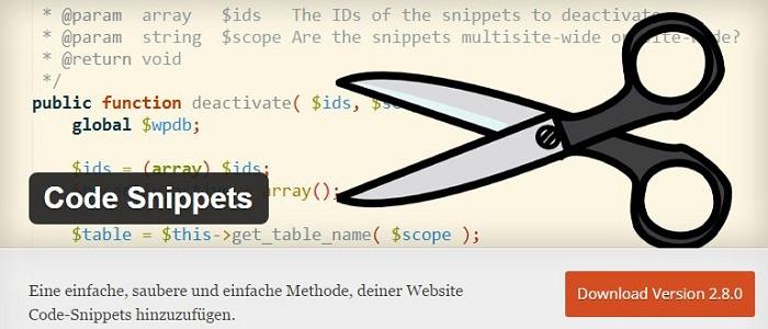 Blog die besten Plugins für WordPress von A bis Z kostenlos 03 Code Snippets