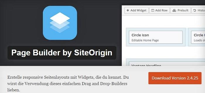 Blog die besten Plugins für WordPress von A bis Z kostenlos 15 Page Builder by Siteorigin