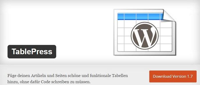 Blog die besten Plugins für WordPress von A bis Z kostenlos 21 TablePress