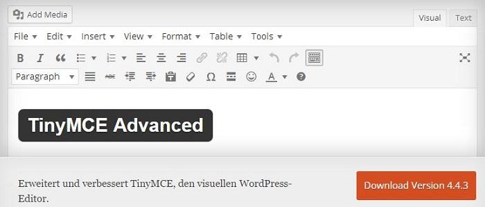 Blog die besten Plugins für WordPress von A bis Z kostenlos 22 TinyMCE Advanced