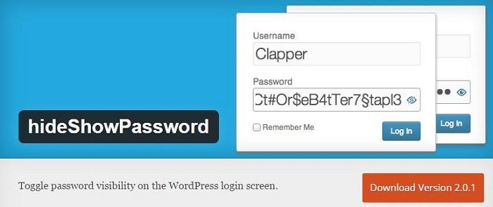 Blog kostenlose Backup und Sicherheit Plugins für WordPress 08 HideShowPassword