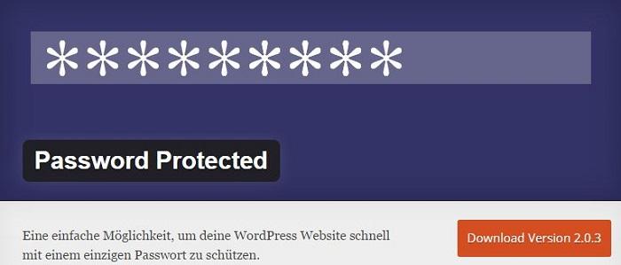 Blog kostenlose Backup und Sicherheit Plugins für WordPress 10 Password Protected