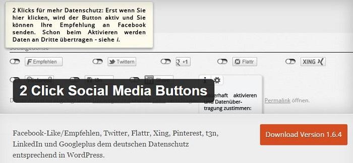 Blog kostenlose Cache Image Minify Social-Media und SEO Plugins für WordPress 14 2 Click Social Media Buttons