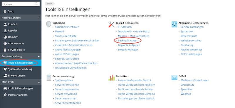 Blog Plesk Backup auf HiDrive Cloudspeicher von Strato einrichten 01