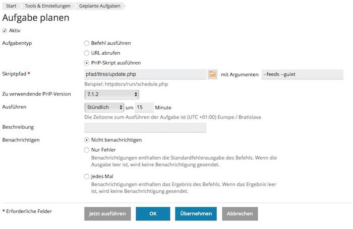 Blog TTRSS installieren und automatische Feed Aktualisierungen einrichten 02