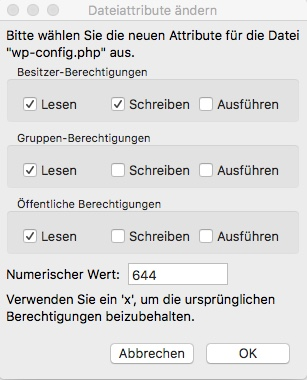 Blog WordPress Dateiberechtigungen am Server anpassen