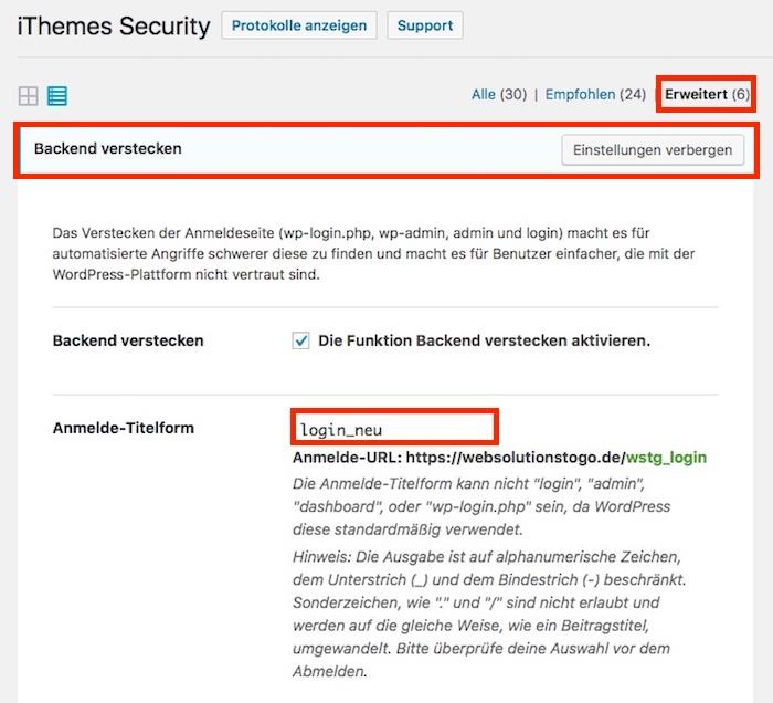Blog WordPress Login vor unerwünschten Zugriffen schützen 01